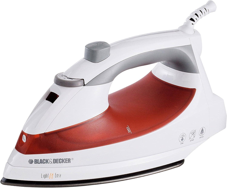 BLACK+DECKER F920 Light 'N Easy Compact Steam Iron, White Red