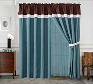 All American Collection New 4 Piece Curtain Set with Attached Sheer Backing (Brown/Turquoise)