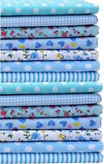 14 Pieces Assorted 7 Designs Cotton Square Fabric Bundles Sewing Square Patchwork Precut Fabric Scraps for DIY Quilting Applique Doll Dress Making (Baby Blue)