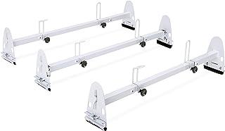 AA-Racks Model X27 Rain-Gutter Van Roof Racks Square 3 Bar Set with Bar Stoppers، Full (White)
