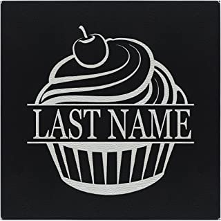 Kitchen Wall Art Cupcake Your Text Kitchen Décor Wall Art Set Black Silver Laser Engraved Leatherette 10x10 Personalized Wall Art Black/Silver