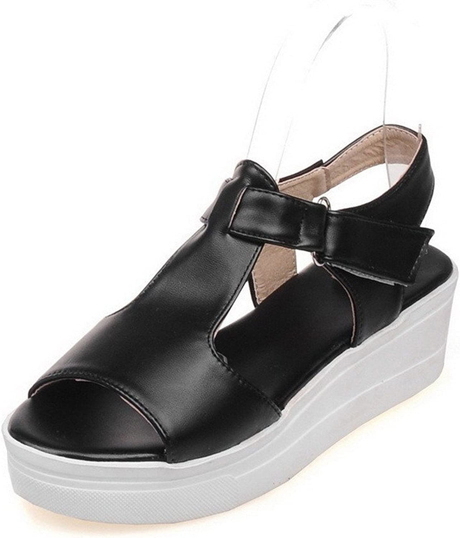 Ompson Women's Solid PU Kitten-Heels Open Toe Hook-and-Loop Platforms & Wedges