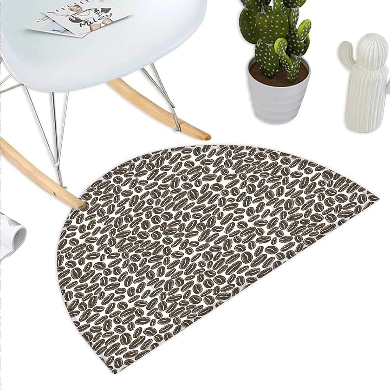 Coffee Semicircle Doormat Main Ingredient of a Robust Morning Dark Grains for Aromatic Strong Taste Halfmoon doormats H 35.4  xD 53.1  Dark Taupe White