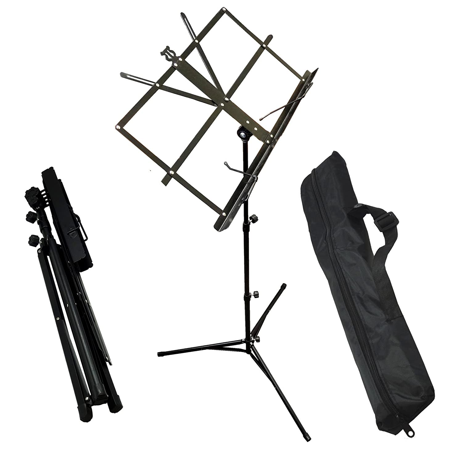BlueDot Trading music-stand-collapsible Collapsible Folding Portable Music Stand, Steel Black