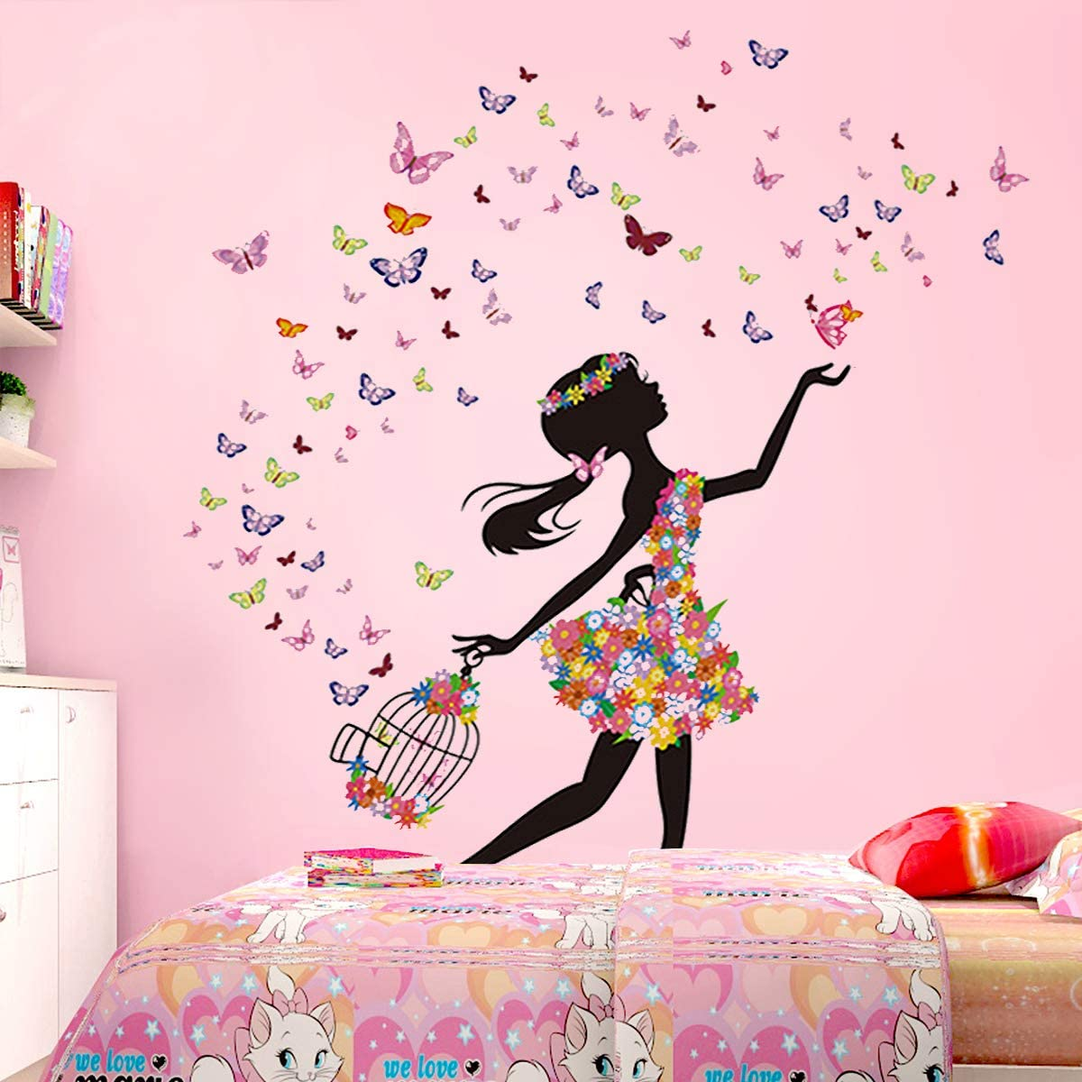 Flowers swirls vinyl wall decal girl room decal w137