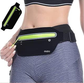 Slim Running Belt, Ultra Light Bounce Free Waist Pouch Fitness Workout Belt Sport Waist Pack Exercise Waist Bag for Apple iPhone 8 X 7 6+ 5s Samsung in Running Gym Marathon Cycling
