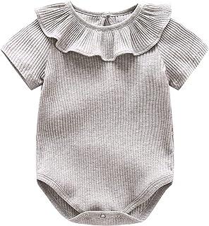 الصيف طفلة بلون قصير بأكمام قصيرة رومبير الوليد بذلة الاطفال هدية 0-24 متر (Color : Gray, Size : 90CM)