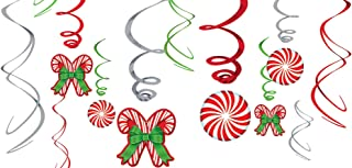 Candy Cane Swirl Decorations 12ct