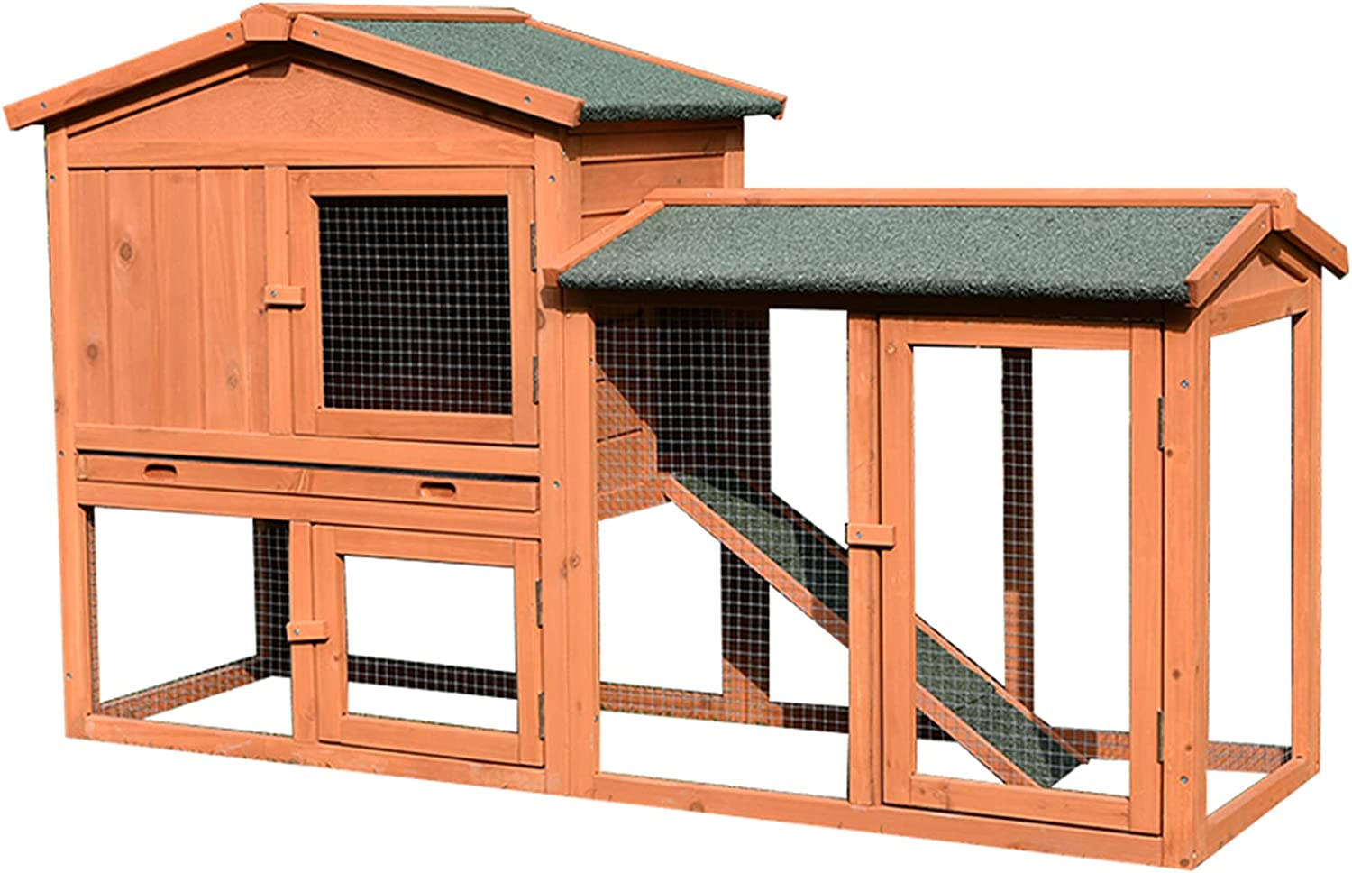 Outdoor Double-Layer 100% quality warranty! Rabbit cage Wooden Oakland Mall pet Chicken House Large