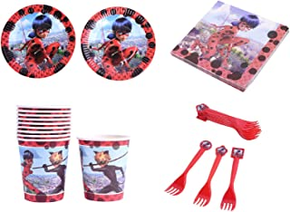 Astra Gourmet Miraculous Ladybug Theme Tableware Set - Include Dessert Plates, Cups, Napkins and Forks for Ladybug Theme Kids Birthday Party Celebration Party Supplies - Bundle for 20