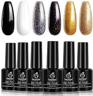 Beetles Black Gold Glitter Gel Nail Polish Set - 6 Colors White Silver Rose Glitter Gel Polish Kit Soak Off Nail Gel Kit, ...