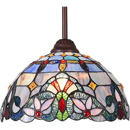 Vinluz One Light Fixture Pendant Mini Tiffany Style 7 Inch Stained Glass Shade Multi Colored Chandelier Lighting Victorian Antique Hanging Light Fixtures Ceiling For Bedroom Living Room Dining Room