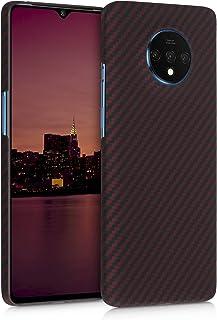 kalibri 対応: OnePlus 7T ケース - アラミド 頑丈 超薄 スマホケース 保護 赤色マット/黒色
