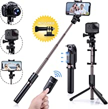 Humixx Selfie Stick Tripod Bluetooth, Professional Monopod Made of Heavy Duty Aluminum【Lightweight & Stable】360°Rotation, Wireless Remote Shutter Compatible with iPhone XR/XS , Samsung S10+, Go Pro