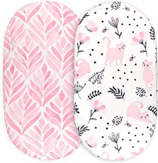 Tansy Panda Bassinet Sheets for Baby Girl Set of 2 - Ultra Soft, Breathable, and Universal Fit - Compatible with Halo, Ova...