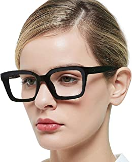 OCCI CHIARI Womens Reading Glasses 3.0, Retro Thick Frame Glasses for Ladies, Stylish Rectangular Reader Spring Hinge (Black, 300)