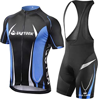 Letook Cycling Jersey Set Men, Summer Breathable Short Sleeve Bike Jerseys & Bib Shorts Suit with Gel Pad