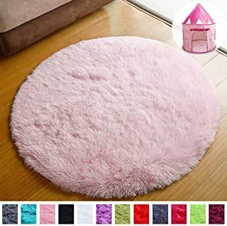 PAGISOFE Super Soft Circle Rugs for Girls Princess Castle...