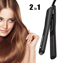BESTBOMG Professional Ionic Flat Iron Worldwide Dual Voltage Hair Straightener Ceramic Tourmaline,Instant Heat Up for Hair Styling with Rotating Adjustable Microchip Temperature Control Salon High