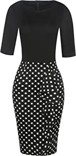Round Neck Half Sleeve Bodycon Floral Dot Print Patchwork Ruffles Pencil Dresses