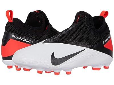 Nike Kids JR Phantom VSN 2 Academy DF FG/MG (Little Kid/Big Kid) (White/Black/Laser Crimson) Kids Shoes