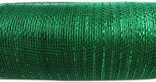 XiXiboutique 6 inch Metallic Deco Poly Mesh Ribbon 30 feet(10 Yards),Emerald Green
