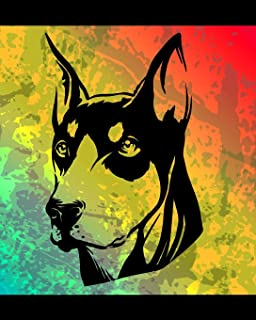 Doberman Color Burst Notebook: Dog Lovers Blank Lined Journal Note Pad 8x10