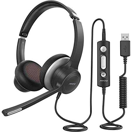 Retractable Mic 3.5mm Wired PC Headphones with Inline Control Mute Business Headset for Skype Cell Phone EKSA Computer Headset with Microphone Lightweight Call Center Headset Noise Cancelling