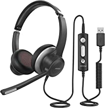 Mpow HC6 USB Headset with Microphone, Comfort-fit Office Computer Headphone, On-Ear 3.5mm Jack Call Center Headset for Cel...