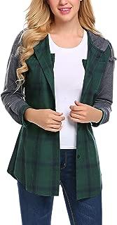 Zeagoo Women's Checker Long Sleeve Shirt Button Sweatshirt Drawstring Hoodies