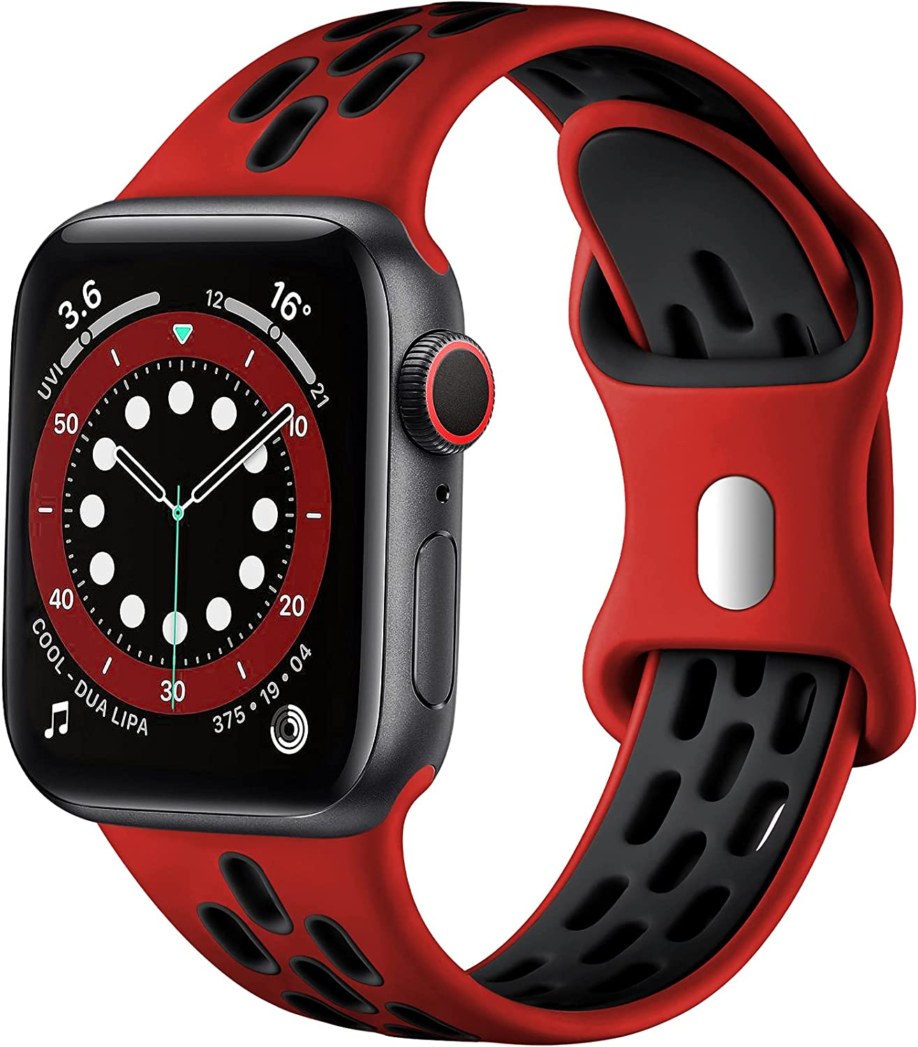 Lerobo Compatible with Apple Watch Band 44mm 42mm 45mm 41mm 40mm 38mm Men Women,Soft Silicone Breathable Sport Bands for Apple Watch SE iWatch Series 7 6 5 4 3 2 1 Replacement Watch Band,Red Black