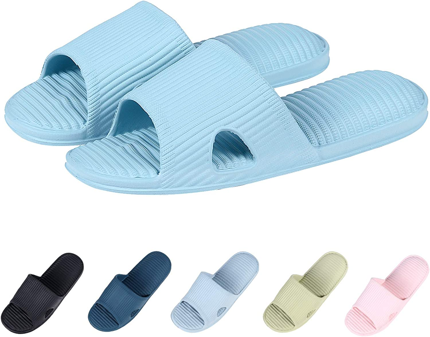 Shevalues High Elastic Bath Slippers Raised Footbed Quick Dry Shower Sandal Ultra Lightweight Cozy House Slippers LB-M