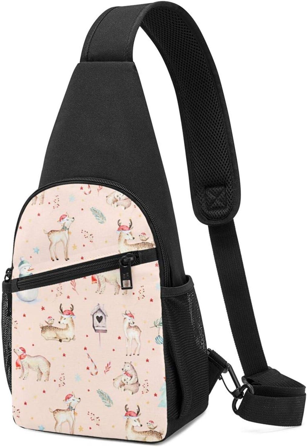 Excellent BMAZI Chest Shoulder Backpack Christmas Snow Men SALENEW very popular! Watercolor Deer