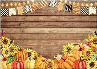 Funnytree Fotohintergrund/Fotohintergrund für Babypartys/Thanksgiving Day/Geburtstag/Party Banner Sonnenblume, rustikaler Holzhintergrund