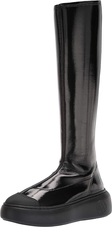 AX Armani Exchange Women's Patent Knee High Platform Boot