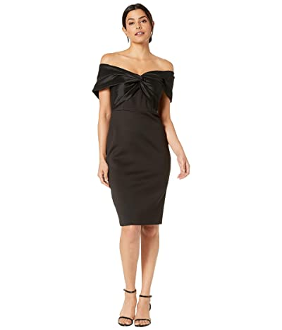 Vince Camuto Scuba and Taffeta Off the Shoulder Bodycon Dress (Black) Women