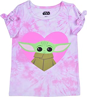 STAR WARS The Child Girl's Short Sleeves Tee Shirt for Toddlers, Baby Yoda Print