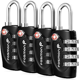 Fosmon (4個セット) アメリカ安全運輸局認定 TSAロック 4桁 ダイヤル式ロック 南京錠 鍵 海外旅行 荷物スーツケース用 4ダイヤルロック (ブラック)