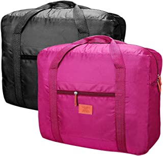 Travel Bag Foldable Lightweight Travel Duffel Bag 26L Nylon Waterproof Travel Luggage Bag for Women and Men (Pack of 2) (Black+Red-1)