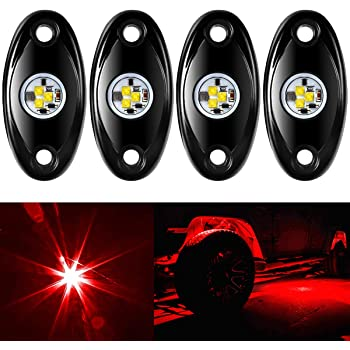 Amak 4pcs LED Rock Light For JEEP ATV SUV Offroad Truck Boat Underbody Glow Trail Rig Lamp Waterproof -Red