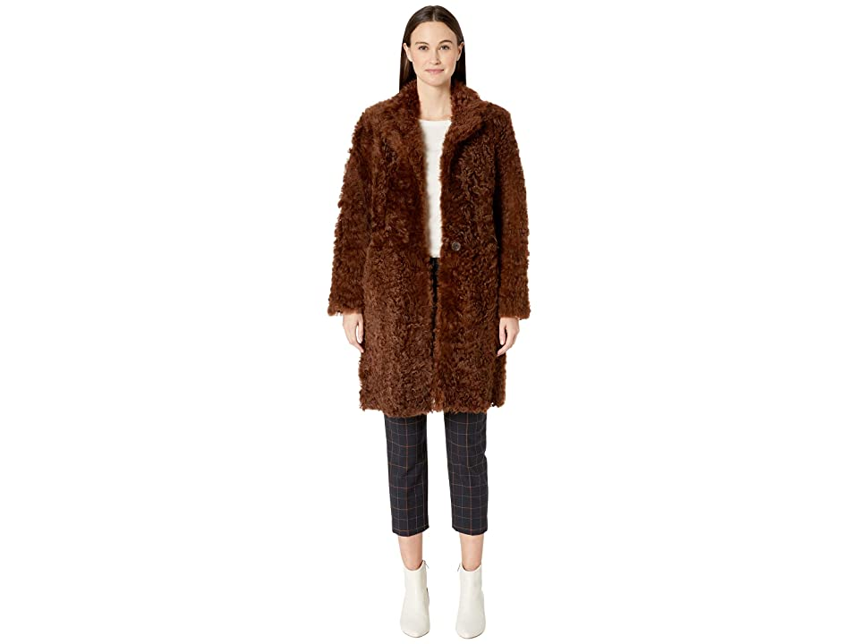 Vince Reversible Shearling Coat (Amber Brown) Women