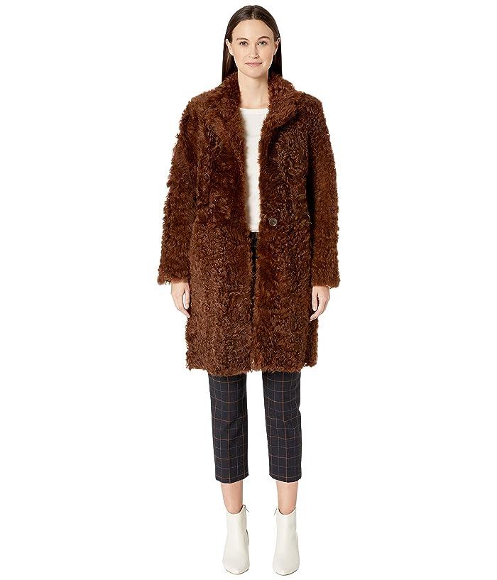 Vince Reversible Shearling Coat (Amber Brown) Women
