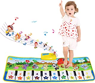 BelleStyle Alfombra Musical - Musical Canto Teclado Estera de Alfombra Bebé Niño Actividad Juego De Gimnasio Colchonetas Alfombra Animal para El Regalo del Bebé (Azul)
