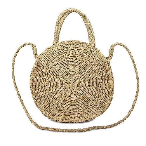 Olyphy Round Straw Shoulder Bag for Women, Weave Crossbody Bag Top Handle Handbag Summer Beach