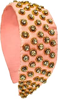 Duchess Pink and Gold Hand Embroidered Beaded Hairband Headband Hair Accessory for girls and kids
