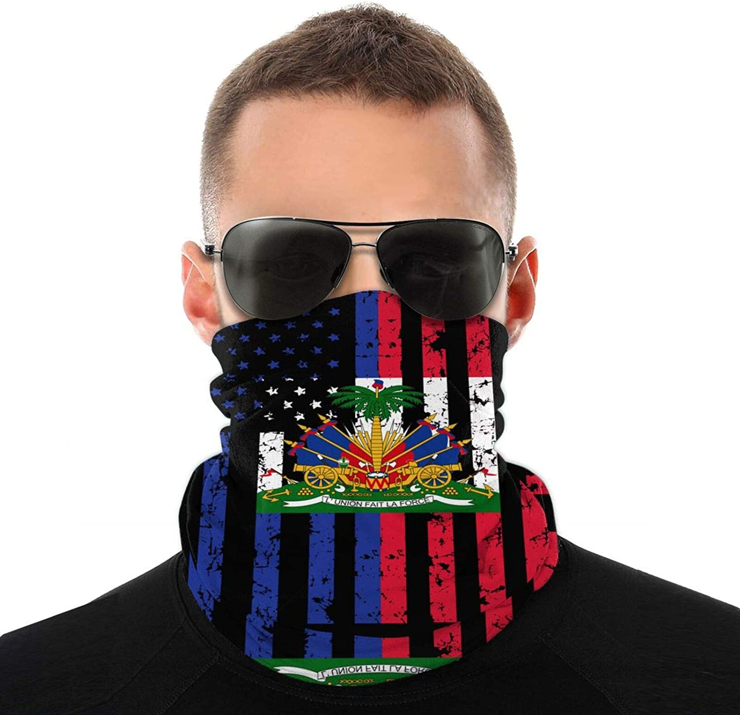 Neck Gaiter Cover Scarf American Haitian Flag Headwear Bandana Winter Windproof Face Covering Scarf Adjustable Neck Warmer for Running Hiking Outdoor Sports