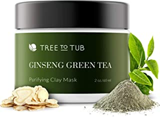 Activated Charcoal Clay Mask for Sensitive Skin by Tree to Tub- Non Peel Off Blackhead Remover Clay Mud Mask for Face- Anti-Aging & Hydrating with Indian Bentonite Clay, Vitamin C, Hyaluronic Acid 2oz