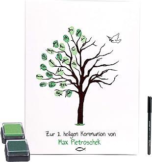 KATINGA Personalisierte Leinwand zur KONFIRMATION 30x40cm, inkl. Stift + Stempelkissen Motiv Baum als G/ästebuch f/ür Fingerabdr/ücke mit Name