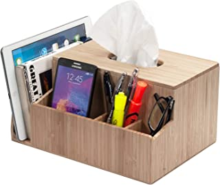 MobileVision Bamboo Tissue Box Holder & Tablet Stand Organizer for Bedroom & Desktop; compartments Hold iPad Phones Remote...