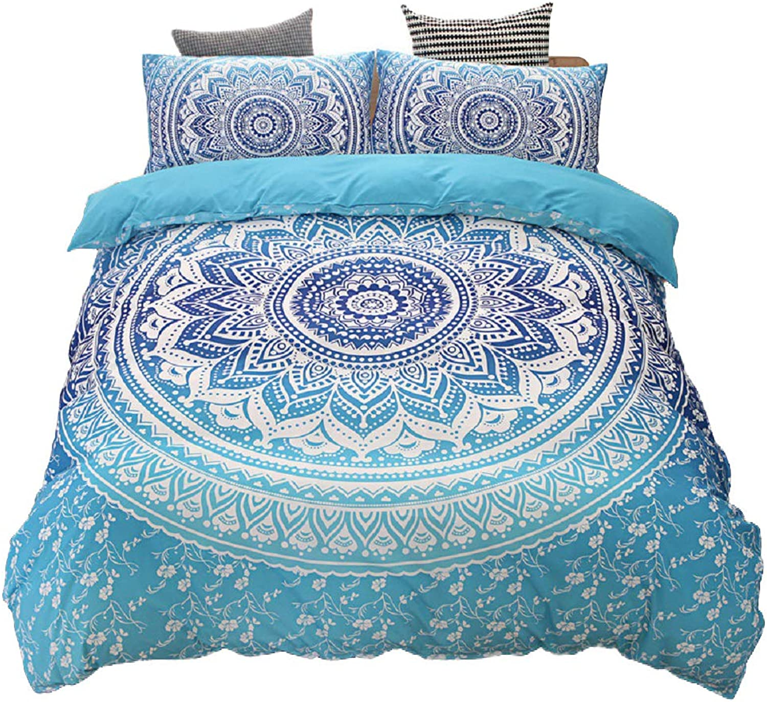 Mandala Flower Duvet Cover Set, Exotic Boho Bedroom Bedding Sets, Luxury Soft Comforter Cover, Hippie Quilt Cover with Zipper Closure (3pcs, Queen, bluee)